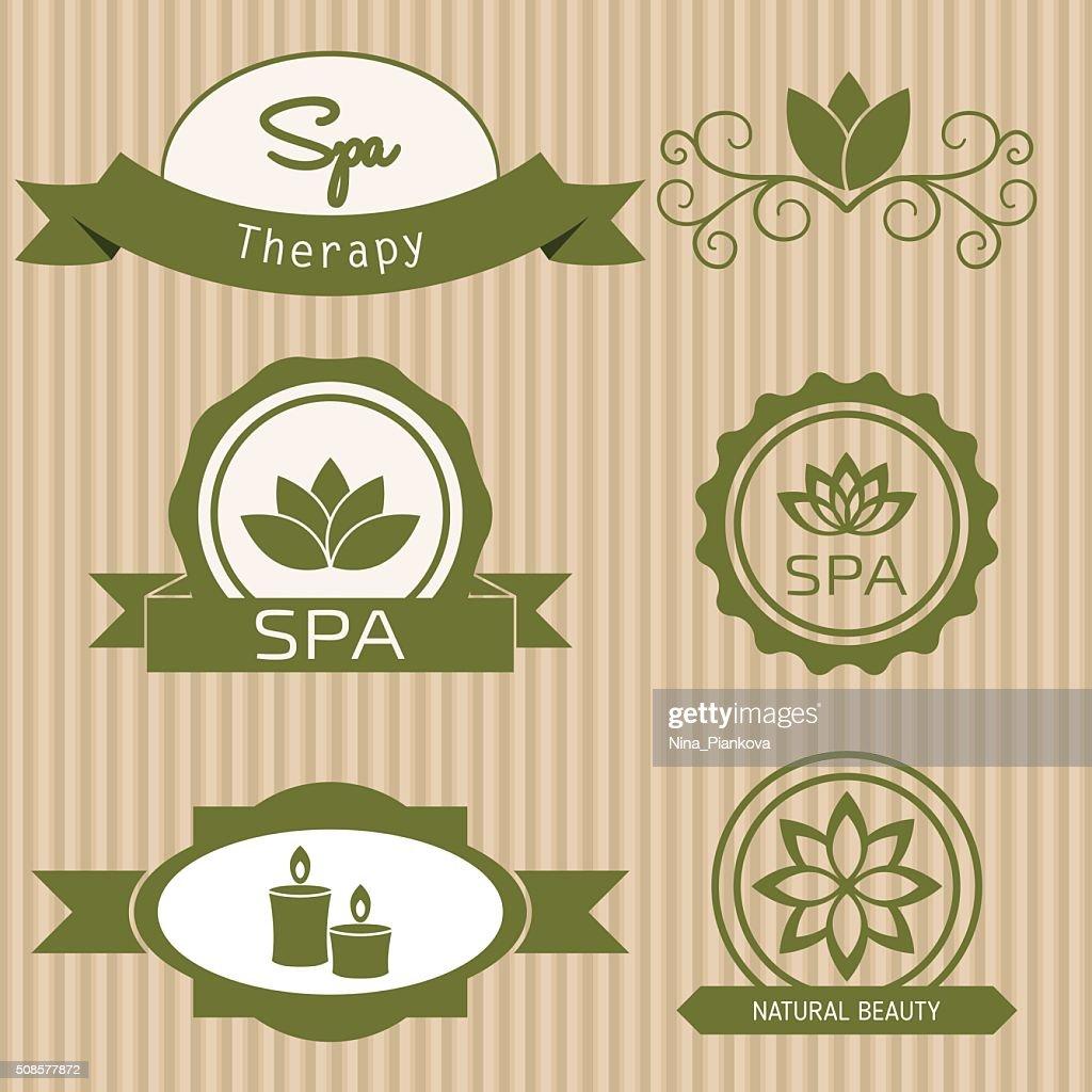 Gruppo di elementi di progettazione per centro benessere e salone di bellezza. : Arte vettoriale