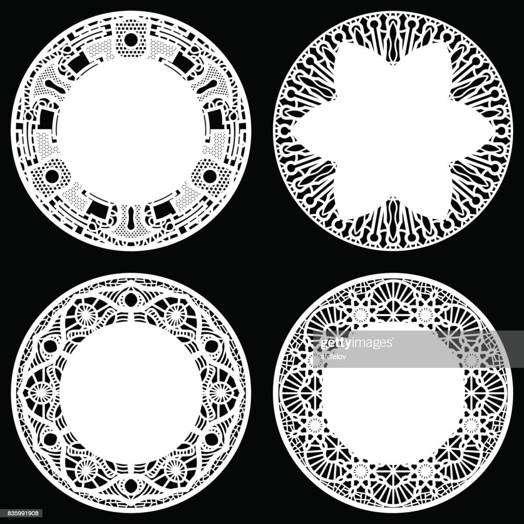 Set Of Design Elements Lace Round Paper Doily Doily To Decorate The