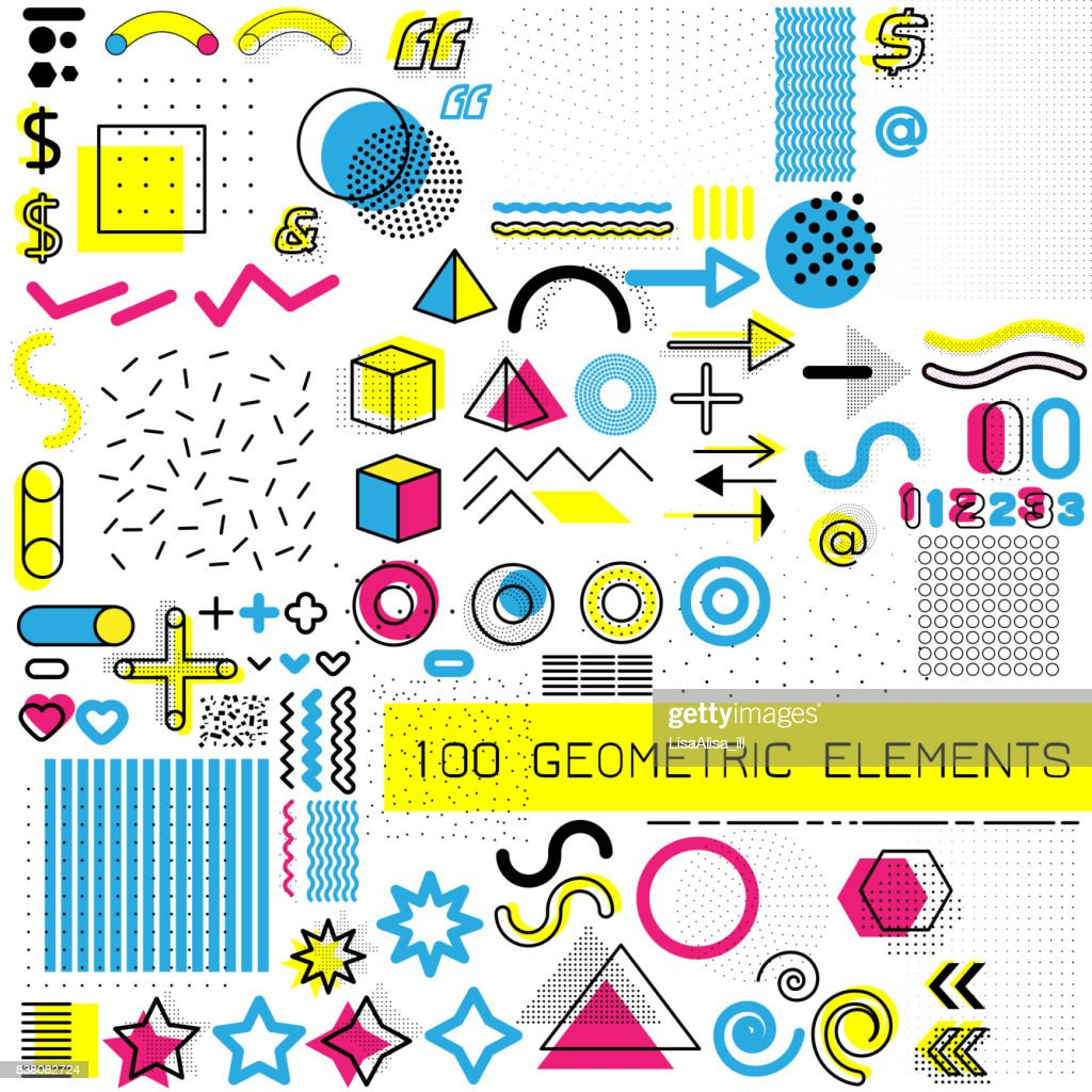Set of design elements, template for your project, animation, and advertising, advertisement, commercial banner, poster, t-shirt. Collection of geometrical colored vector elements.
