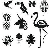 set of design elements tropical theme