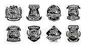 A set of designs, emblems, a fireman in a gas mask.