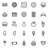 Set of dessert line icons