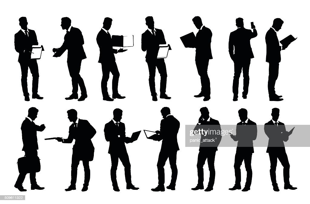 Set of detailed businessman silhouettes using holding various business objects