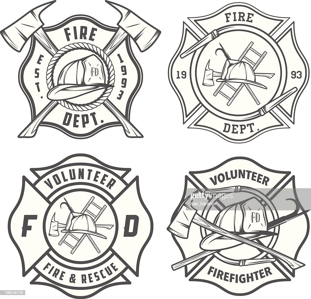 Set of detailed fire department emblems and badges