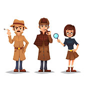 Set of detective character man smoking pipe noir detective smok cigarette design, spy woman with magnifying glass cartoon flat style, vector color illustration eps10