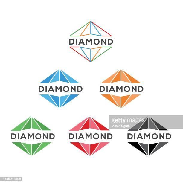 set of diamond line art logo vector - diamond gemstone stock illustrations