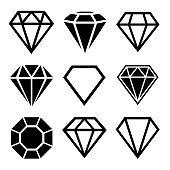 A set of diamonds in a flat style