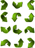 Set of different 3d arrows green color. Vector pictures