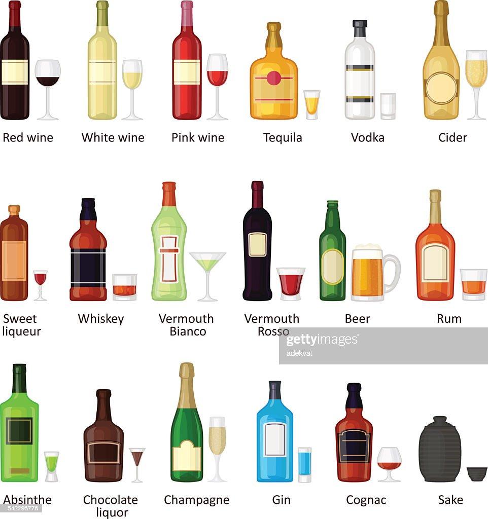 Ein Set Von Flaschen Verschiedene Alkoholische Getränke Stock ...