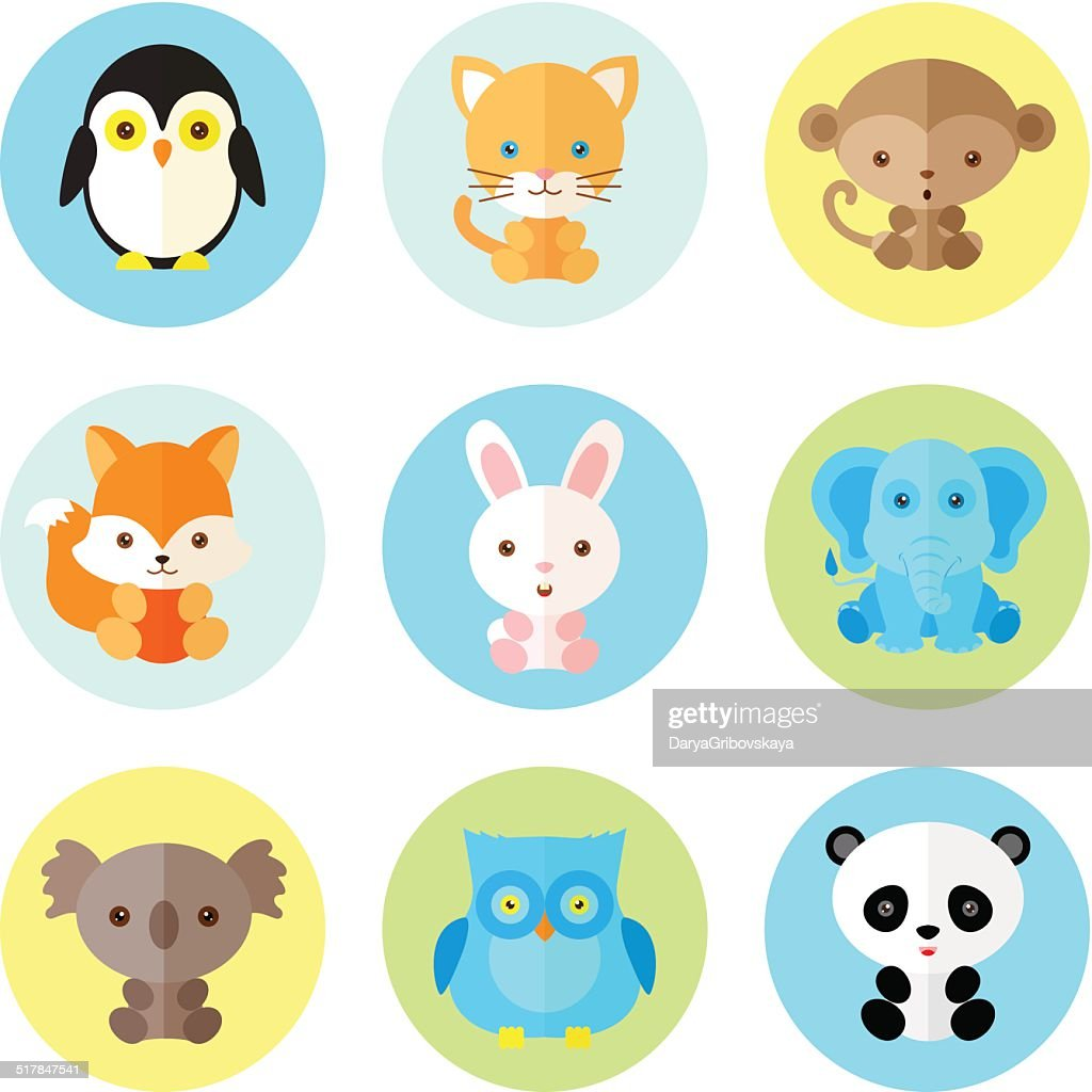 Set of different animals icons. Vector illustration, flat style