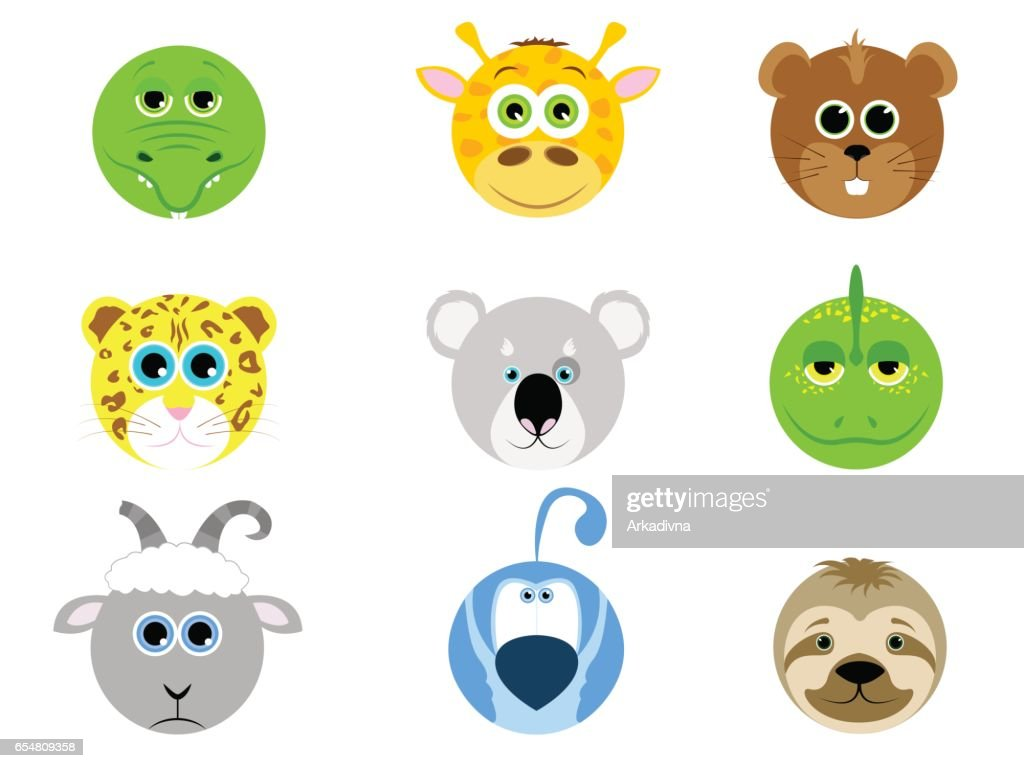 Set of different animals in cartoon style. Domestic animals, wild. Animals from the farm and from the zoo. Vector illustration in cartoon style.