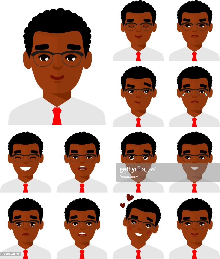 Set of different avatar african american people male in colorful flat style.