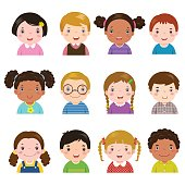 Set of different avatars of boys and girls