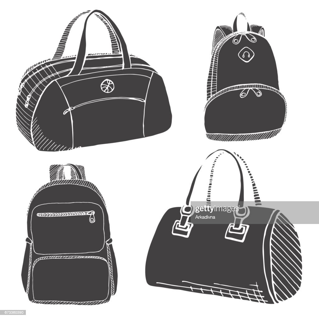 6f62dae8a3c Set of different backpacks, men, women and unisex. Backpacks isolated on white  background. Vector illustration in sketch style.