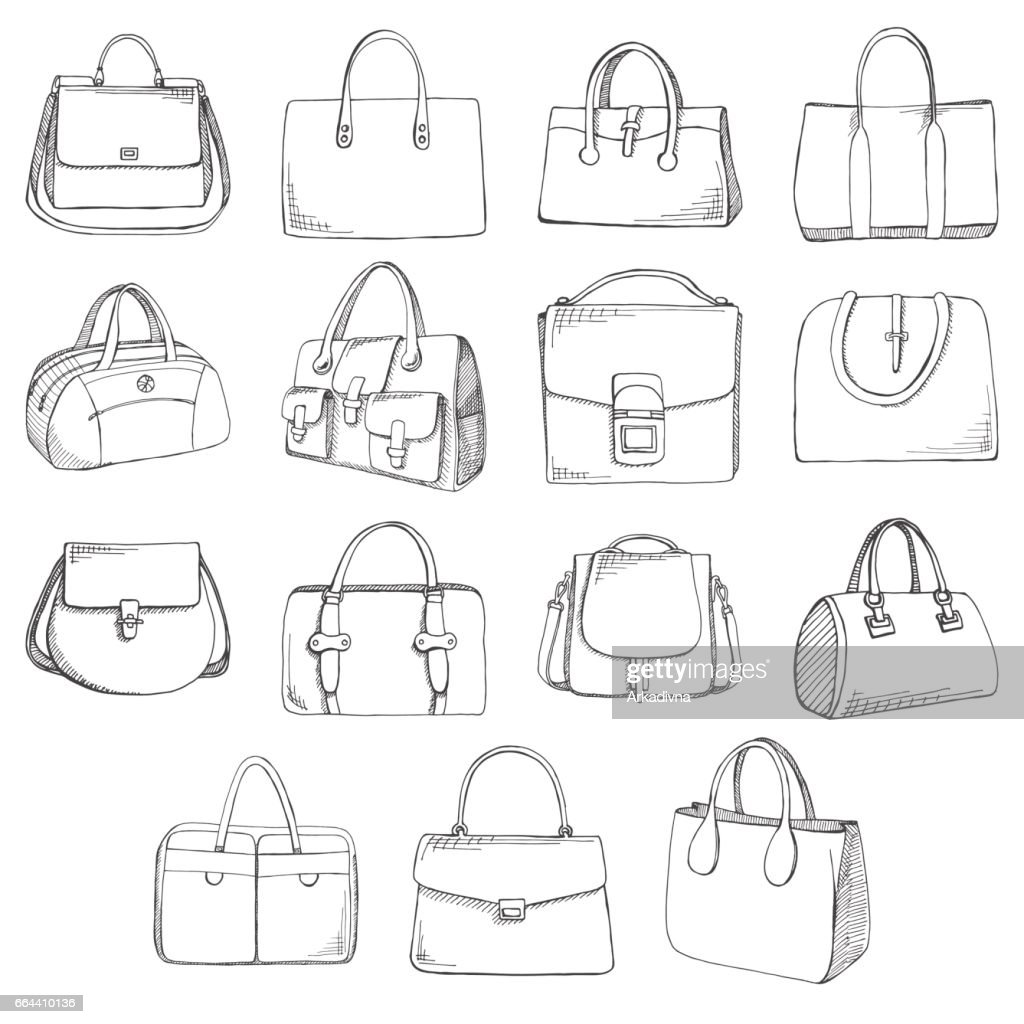 Set of different bags, men, women and unisex. Bags isolated on white background. Vector illustration in sketch style.