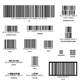 Set of different barcodes isolated on white