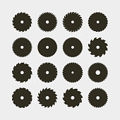 set of different black silhouettes of circular saw blades. vector illustration
