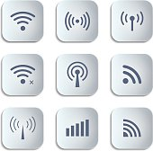 Set of different black vector wireless and wifi buttons