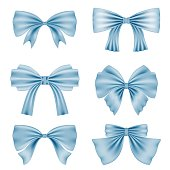 Set of different blue bows for decoration. Decor for Valentine's Day, birthday, wedding, celebrations and holidays.