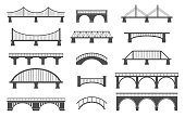 Set of different bridges. Isolated on white background.