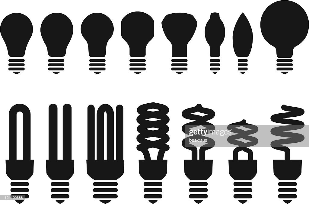 set of different bulbs, vector
