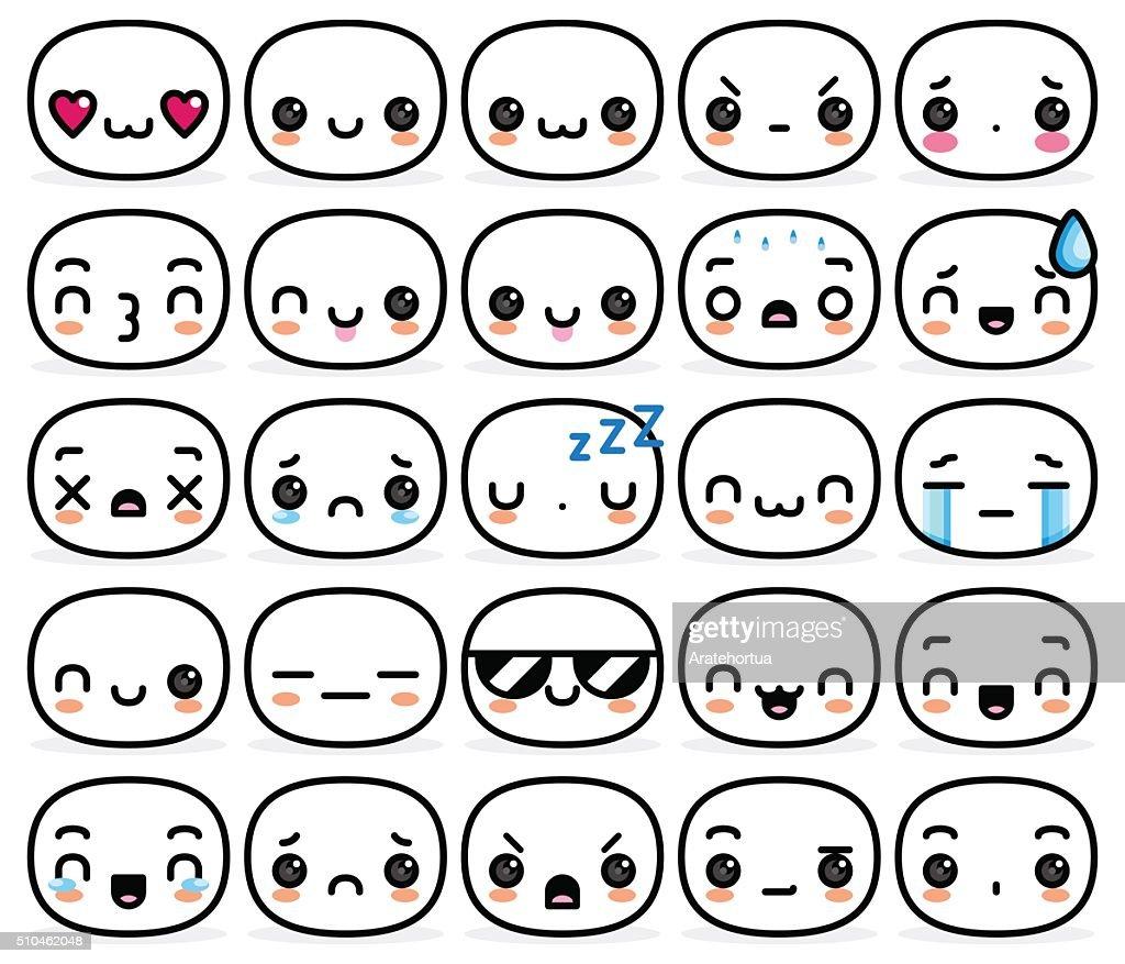 Set Of Different Cartoon Cute Faces