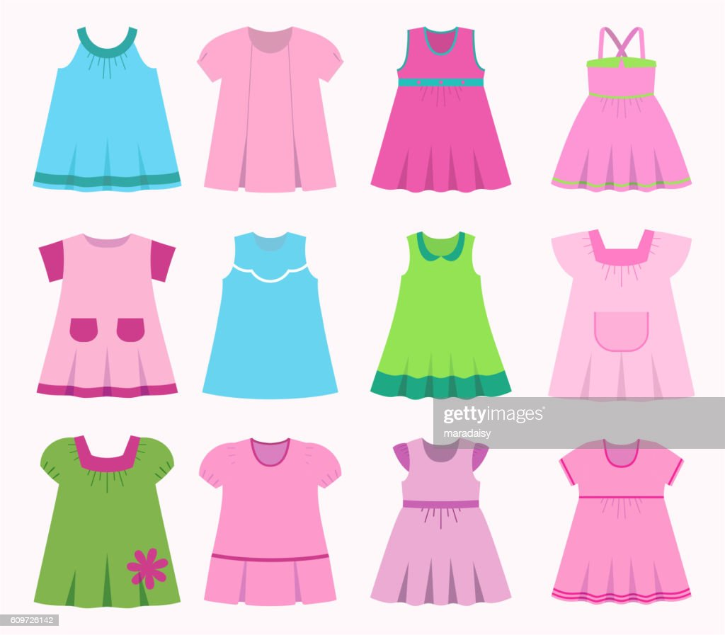 Set of different children's dresses for baby girls.