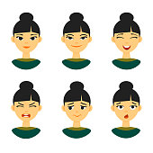 Set of different Chinese female girl emotions expression