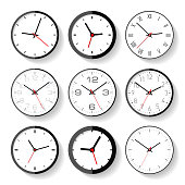 Set of different clock icons in flat style, minimalistic timers on white background. Business watchs. Vector design elements for you projects