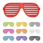 Set of different colored slatted sunglasses
