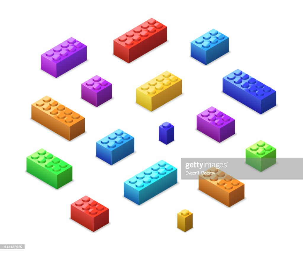 Set of different colorful toy bricks in isometric view