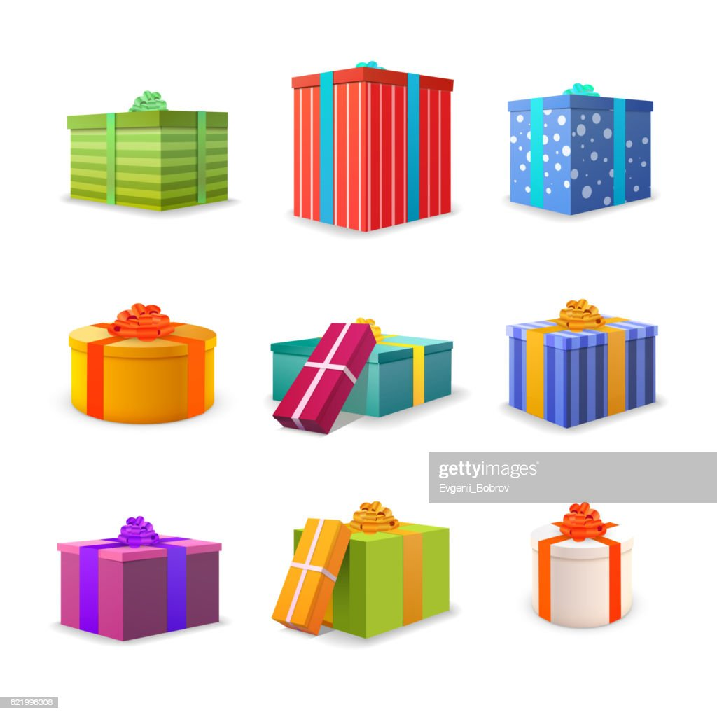 Set of different colourful bright gift boxes