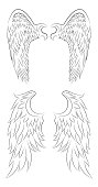 Set of different contour drawing of an angel wings.
