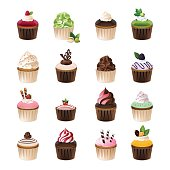 Set of different cupcakes.