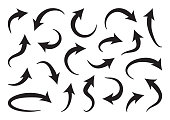 Set of different curve arrows, black collection. Vector