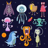 Set of different cute funny cartoon monsters.