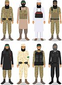 Set of different detailed illustration of islamic arabic terrorists. Vector.