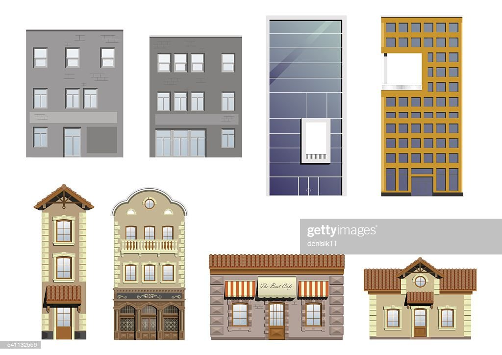 Set of different facades