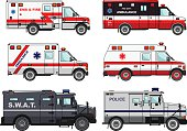 Set of different fire truck, police and ambulance cars. Vector.