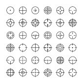 Set of different flat vector crosshair sign icons. Line symbols.