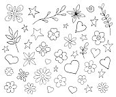 Set of different flowers, plants, hearts. Vector illustration in the style of doodle.