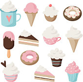 Set of different food and drink icons. Isolated retro illustrations of cakes, doughnuts, ice cream, sundae, coffee, cupcakes and muffins
