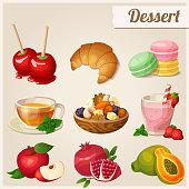 Set of different food icons. Dessert.