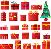 Set of different gift boxes. Christmas tree. Vector illustration. Merry Christmas. Happy new year. Holiday theme for design. Can be used as Christmas card, poster, banner, frame. Vector Illustration