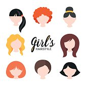 Set of different girl's hairstyle for short, medium, long hair