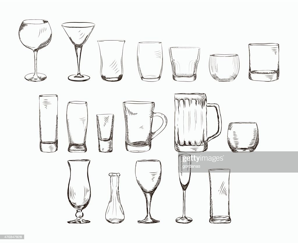 Set of different glass , hand drawn illustration in sketch style.