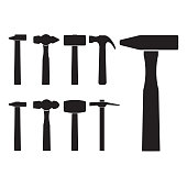 Set of different hammer silhouette