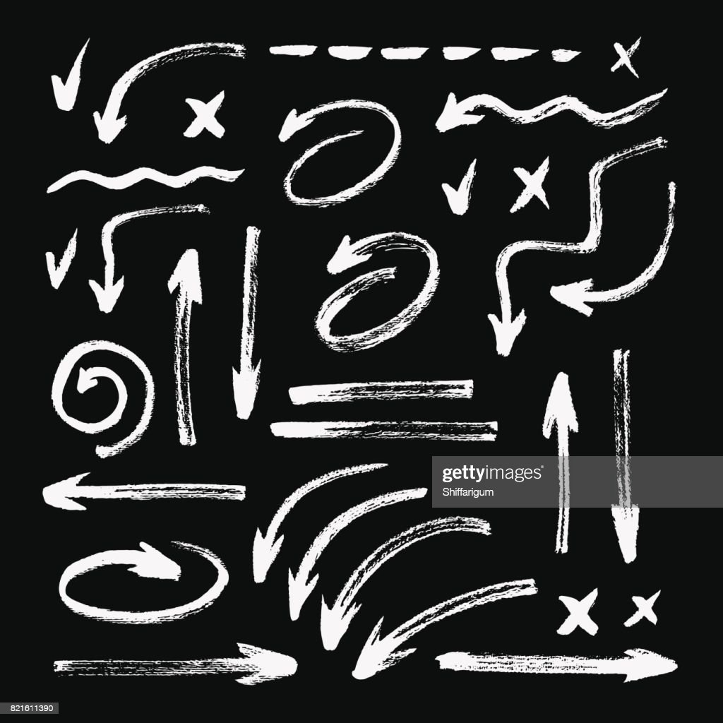 Set of different hand drawn grunge brush strokes, arrows. Isolated on black background