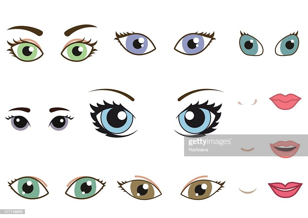 Set of different human eyes, eyebrows, noses and lips