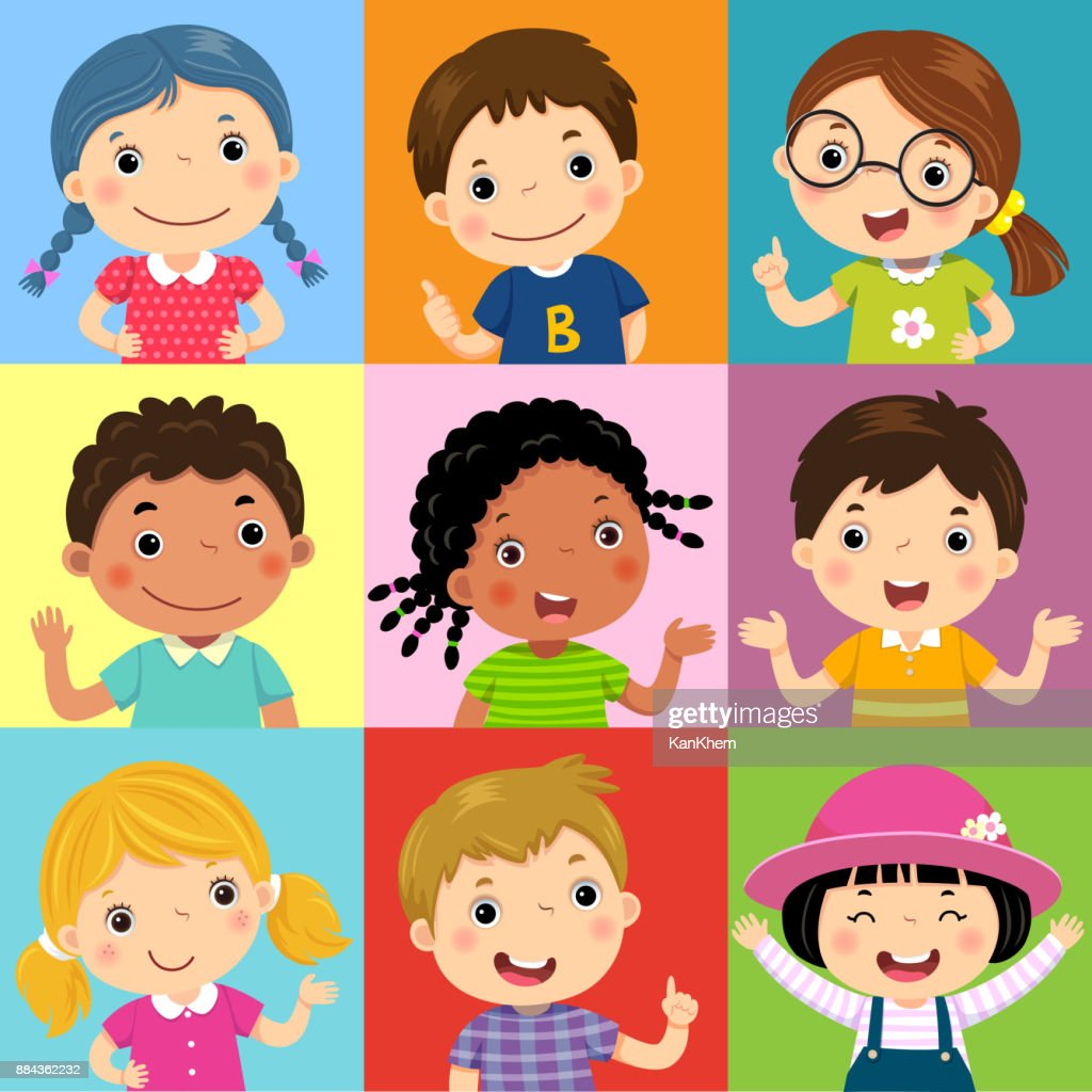 Set of different kids with various postures